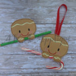 Snap Gingerbread Boy Candy Cane Holder ITH